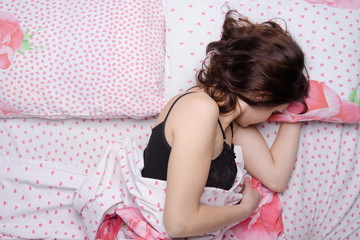 Girl sleeping in one bed