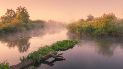 Idyllic lanscape at summer time, river in early morning