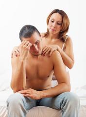man has problem, a woman comforting him