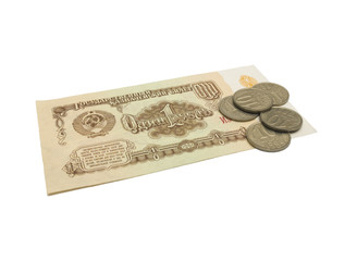 Old money from USSR on white background, isolated