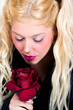 canvas print picture - Blonde Frau mit roter Rose