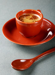 Small cup of coffee with a spoon and saucer