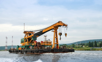 Floating crane underway in Varna port, Bulgaria