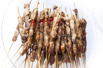 skewers of grilled meat