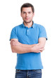canvas print picture - Portrait of smiling happy handsome man in blue t-shirt.