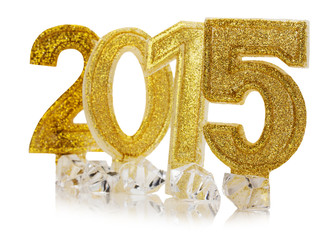 golden 2015 Happy New Year on the white background