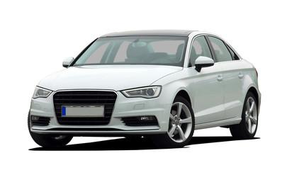 white sedan front view