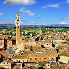 Siena, Tuscany, view of piazza del campo