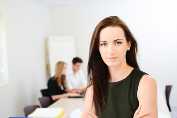 Beautiful young woman executive manager in meeting room