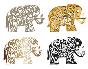 Ornate decorative collection of elephant illustration isolated