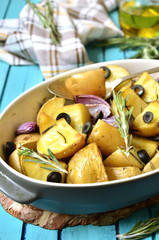 Baked jacket potatoes.