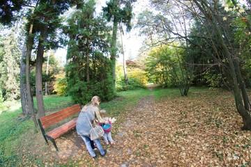 Kobieta z dziećmi w parku