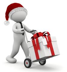 omino con carrello e pacco regalo