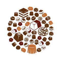 chocolate icons in circle