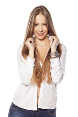 beautiful girl with long hair posing on white background