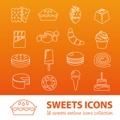 sweets outline icons