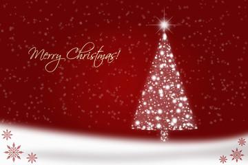 Red Christmas card with Christmas tree