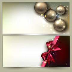 Christmas banners. Golden Xmas baubles. Vector set