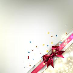 Elegant Christmas banner. Golden background with red ribbon. Vec