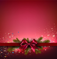 Christmas background with red bow and fir twigs garland. Vector