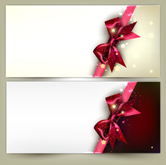 Holiday banners with red bows and copy space. Vector illustratio