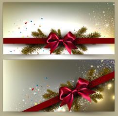 Elegant Christmas banner set. Golden backgrounds with red ribbon