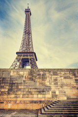 Eiffel Tower in Paris. Warm color toning effect