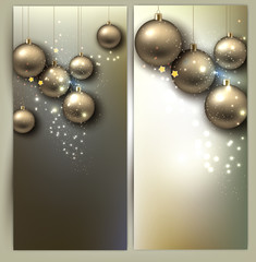 Christmas banners with balls. Golden Xmas baubles. Vector
