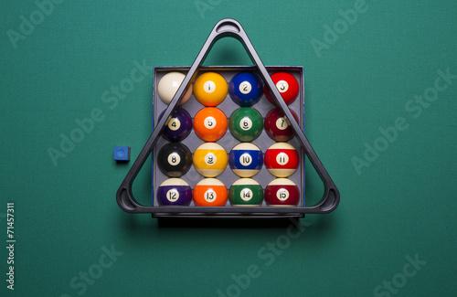 Staande foto billiard balls in a box and triangle