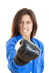 woman showing her fist with boxer glove in front of camera
