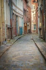 Narrow old street in city. Valenciennes, France