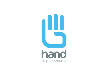Hand Logo design vector. Digital Creative touch Logotype