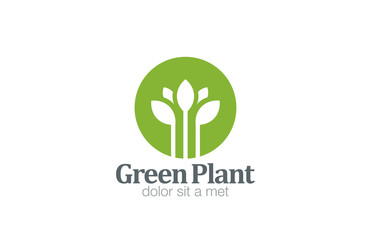 Green Plant Flower Logo design vector. Medicine icon