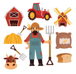 Stock vector farm flat illustration simple icon set