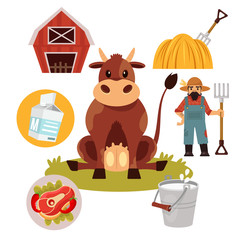 Stock vector farm cow flat illustration simple icon set