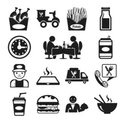 Stock vector food pictogram black icon set