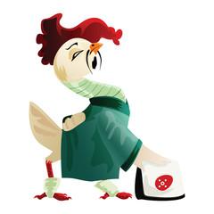 White cock in a green kimono