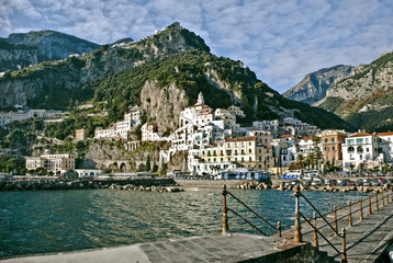 View of Amalfi town from pier.