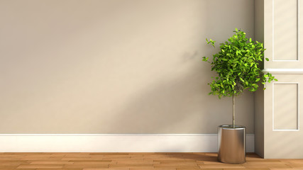 interior in classic style with plant. 3D illustration