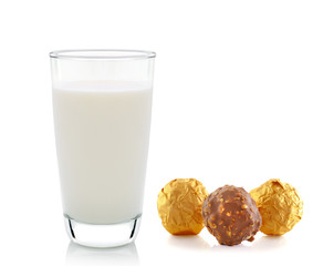 milk and chocolate isolated on white background