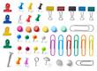 Leinwanddruck Bild - push pin thumbtack paper clip office business