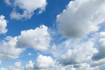 Bright blue sky background with white clouds