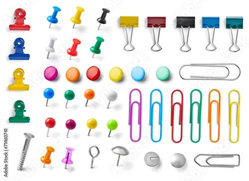 Leinwanddruck Bild push pin thumbtack paper clip office business