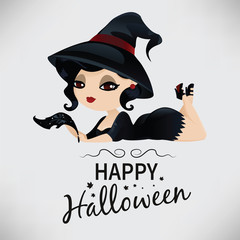 Beauty black-haired witch with a pen in pin-up style