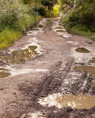 Rural damaged road with muds and holes
