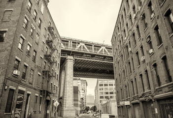 View of Manhattan Bridge on a overcast spring day - New York Cit