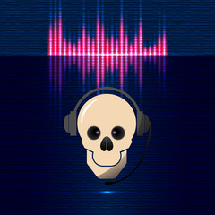 Skull in headphones, equalizer in blue shades