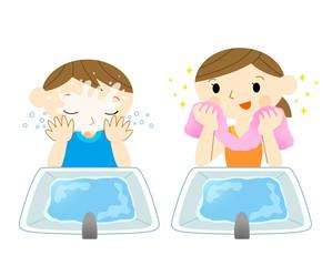洗顔する子供