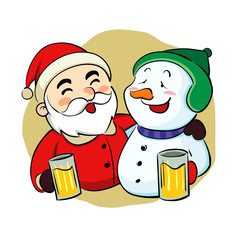 Drunk Santa Claus and snowman