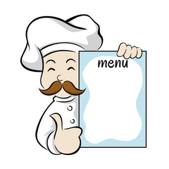 Chef holding menu sign